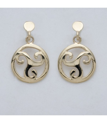 Trinity Round Spiral Drop Earrings
