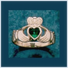 Ladies Stone Claddagh Ring