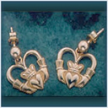Old Fashioned Claddagh Drop Earrings