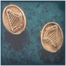 Solid Oval Harp Stud Earrings