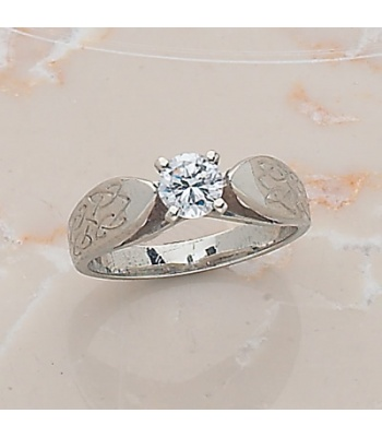 Engraved Knotwork Engagement Ring