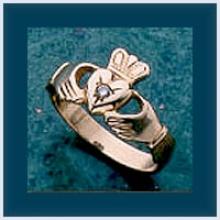 Gents Diamond Claddagh Ring
