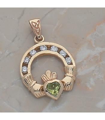 Diamond Peridot Claddagh Pendant