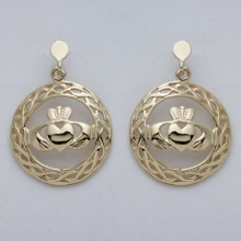 Claddagh  with Celtic Circle Drop Earrings