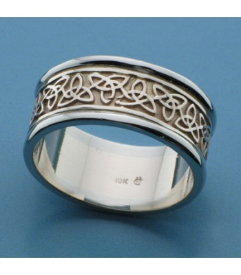 Solid Trilogy Knot Band Two Tone