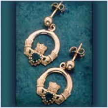 Claddagh Stone Drop Earrings