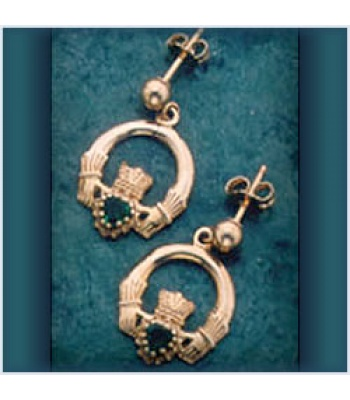 Claddagh Stone Drop Earrings