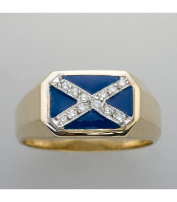 St. Andrews Cross with Diamonds Ring