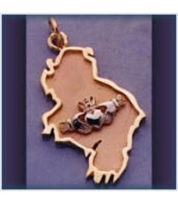 Claddagh Map Ireland Pendant