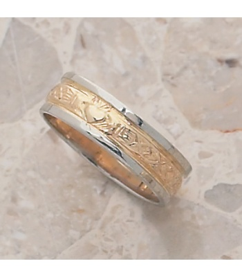 Claddagh Two Tone Wedding Band