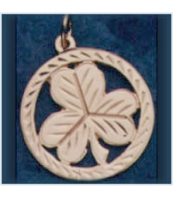 Lined Shamrock in Circle Pendant