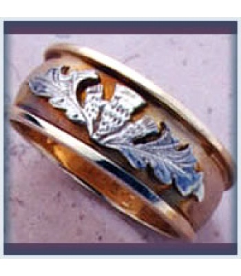 Gents Sandblast Thistle Ring
