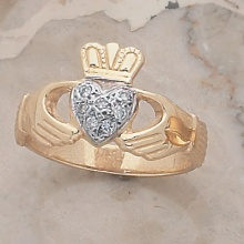 Ladies Heart of Diamonds Claddagh Ring