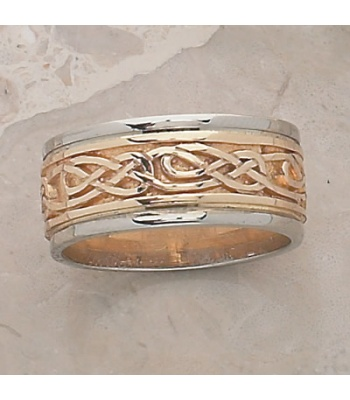 Lindesfarne Knot Two Tone Ring